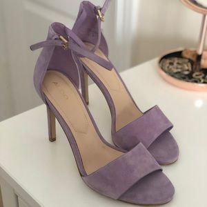 Lavender suede, open toe pumps